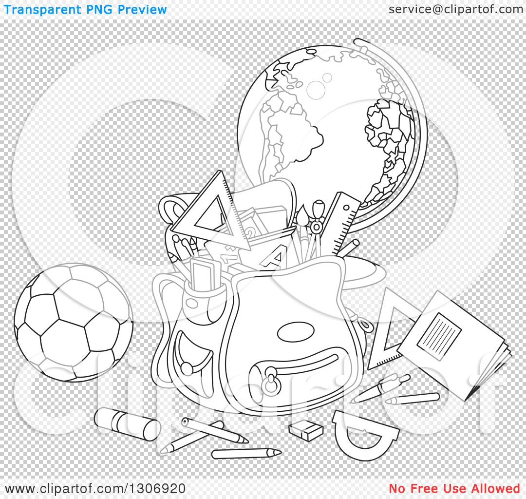 Lineart Clipart Of A Cartoon Black And White School Backpack Bag With Supplies A Desk Globe And
