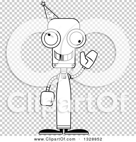 Lineart Clipart of a Cartoon Black and White Skinny Waving
