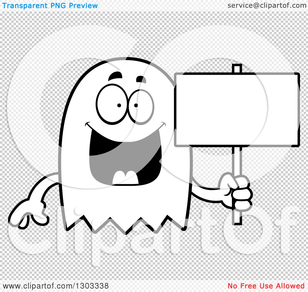 Outline Clipart of a Cartoon Black and White Happy Ghost