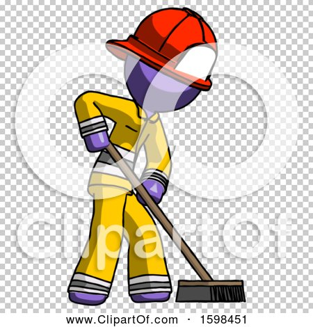 Purple Firefighter Fireman Man Cleaning Services Janitor