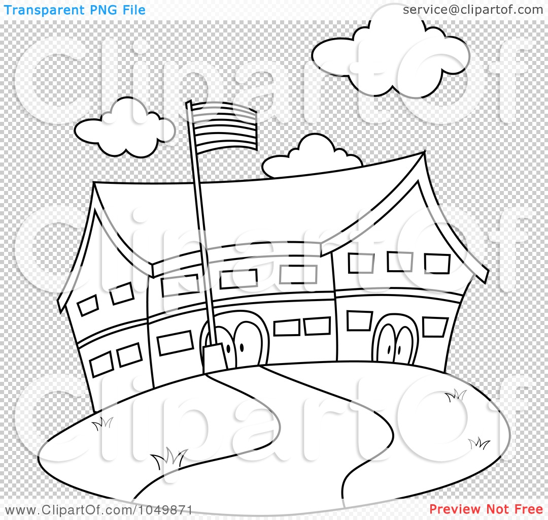 Royalty Free Rf Clip Art Illustration Of A Coloring Page Outline Of A School By Bnp Design