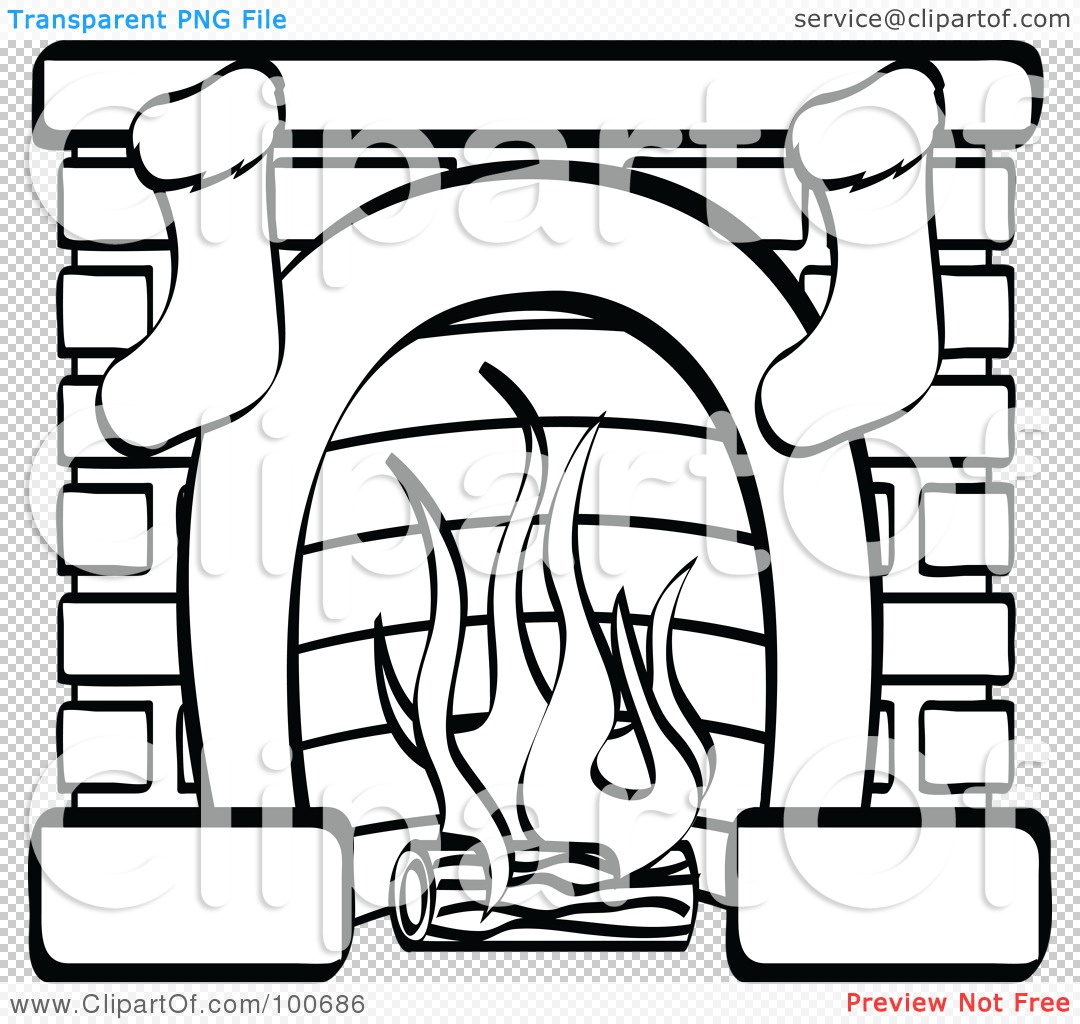 Royalty Free Rf Clipart Illustration Of A Coloring Page Outline Of A Fireplace With Two