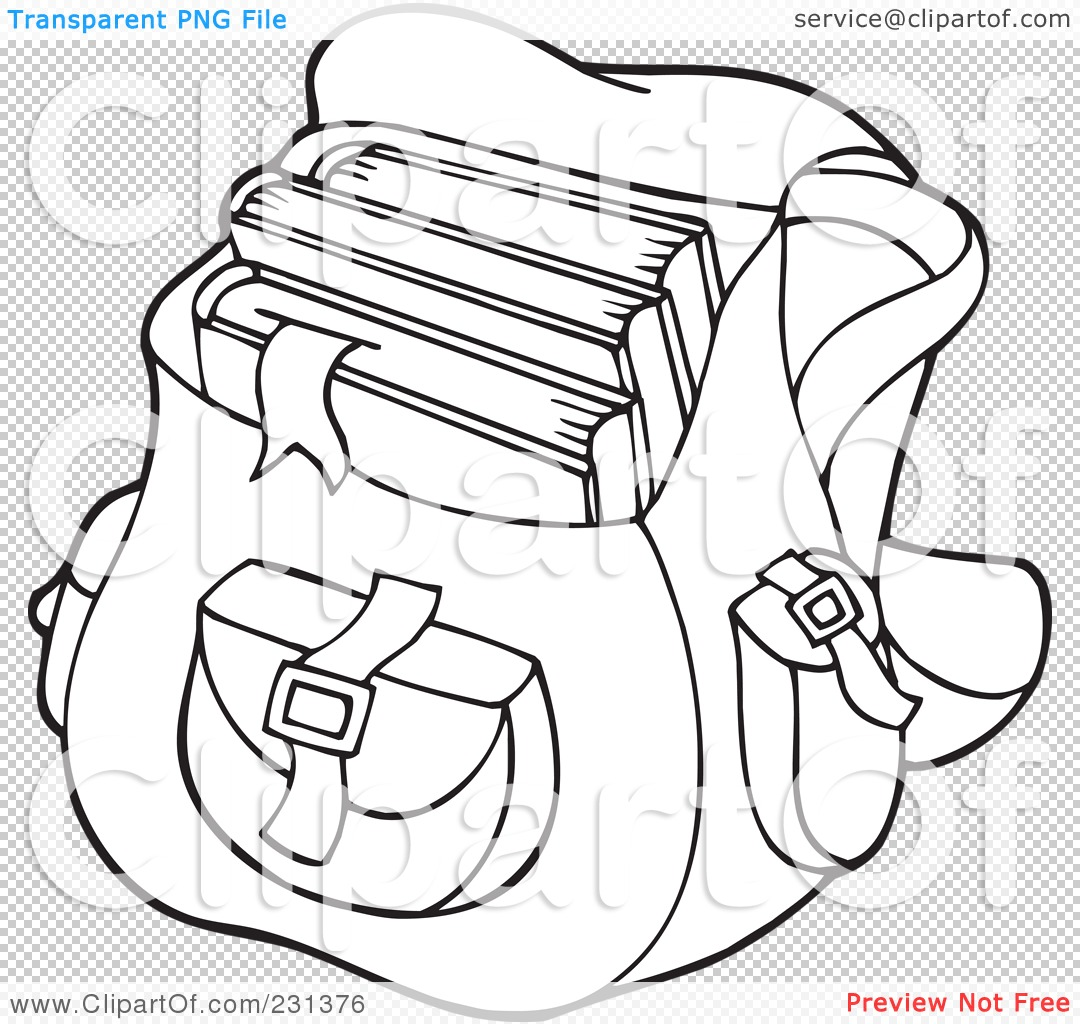 Royalty Free Rf Clipart Illustration Of A Coloring Page Outline Of A School Bag By Visekart