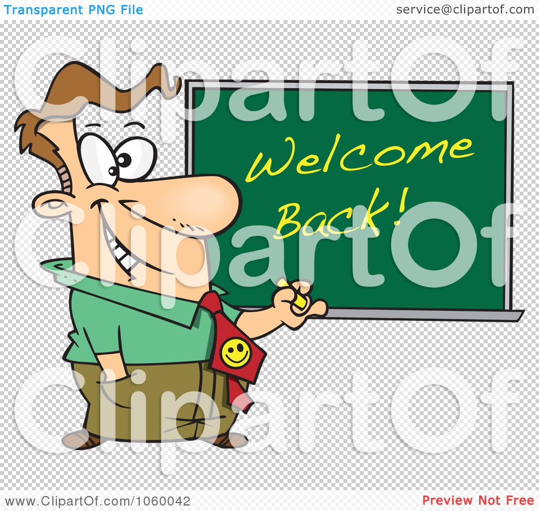 Royalty Free Vector Clip Art Illustration Of A Cartoon Male Teacher Writing Welcome Back On A