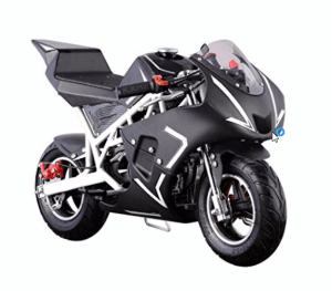 40cc 4 stroke gas powered mini motorcycle | Black and White