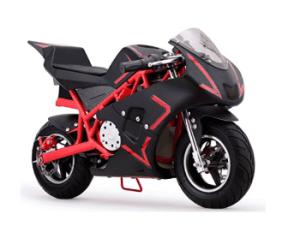 MotoTec Cali Electric Pocket Bike Close-up. Black+Red