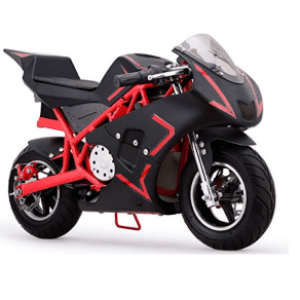 MotoTec Cali Electric Pocket Bike Close-up. Black+Red