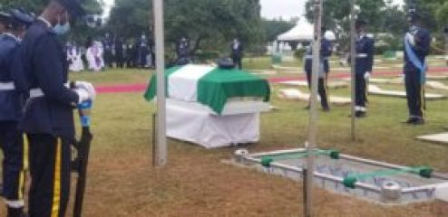 The burial of Flying Officer Tolulope Arotile at the military cemetery on Airport Road