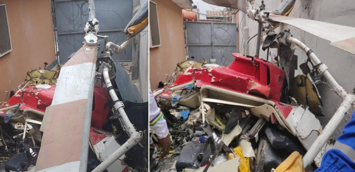 BREAKING: Helicopter crashes in Opebi, Lagos