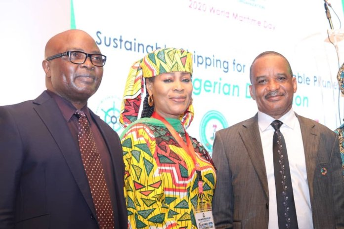 The Board Chairman of NIMASA Chief Okorie Asita, Chairman House Committee on Maritime Safety, Education and Administration Ms. Lynda Ikpeazu with the DG Jamoh Bashir  at the on going 2020 World Maritime Day celebration in Lagos.
