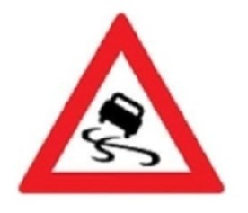 Slippery When Wet traffic sign
