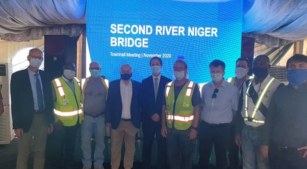 Julius Berger Managing Director, Engr. Dr. Lars Richter, Project Director, Friedrich Wieser; and Coordinator Executive/Special Projects, Koehler Kai-Uwe with members of the 2ndNiger Bridge Project Implementation Team in Asaba on Saturday