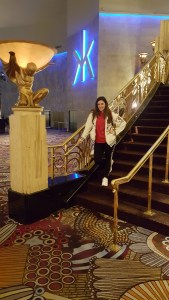 MGM Grand. The sign behind me is for the iconic Hakkasan pub