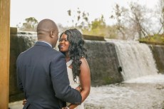 Beautiful african wedding couple look at each other