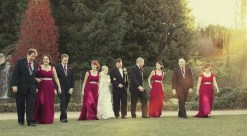 Australian bridal party walking at hunter valley gardens