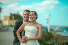 Australian sydney wedding couple on australia day in cronulla
