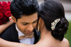 Indian wedding couple from sydney hugging at curzon hall