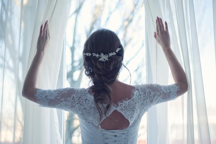 beautiful boho inspired lace dress wedding bride