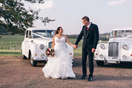 beautiful bride and groom in hunter valley vintage cars photography