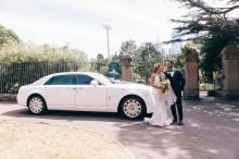bride and groom wedding rolls royce phantom wedding car