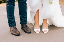bride and groom's shoes and heels