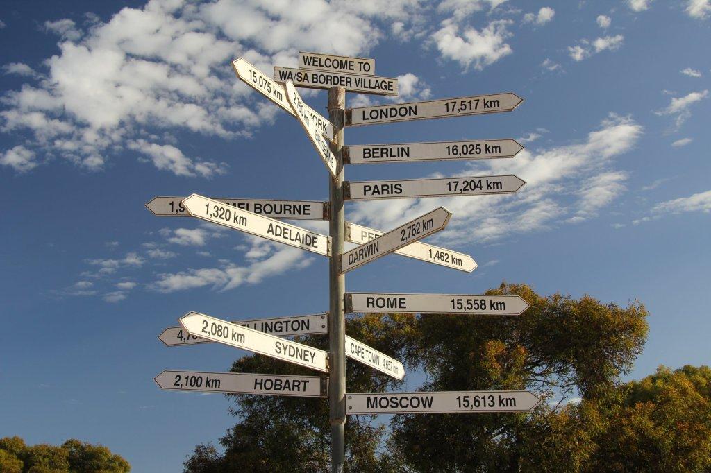 Every traveller loves world sign post.  WA/SA Border.
