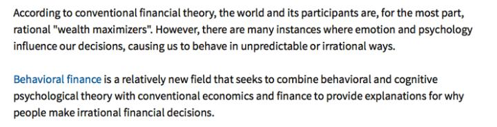 Behavioral finance definition