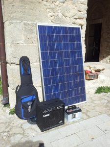 The equipment, as in the project by Daniele Pisasale. THe solar charger and the battery were used in many installations during trasformatorio number zero