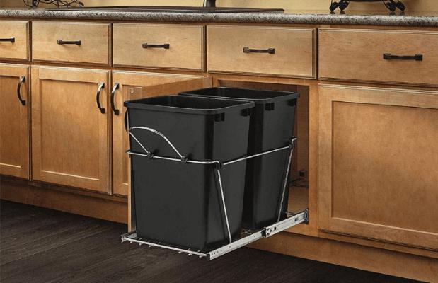 built-in kitchen trash bin
