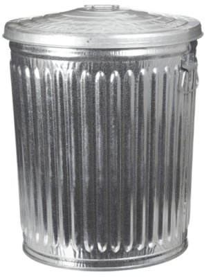 large metal trash can with lid