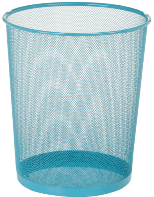blue mesh trash can