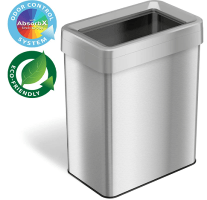 open top stainless steel trash can