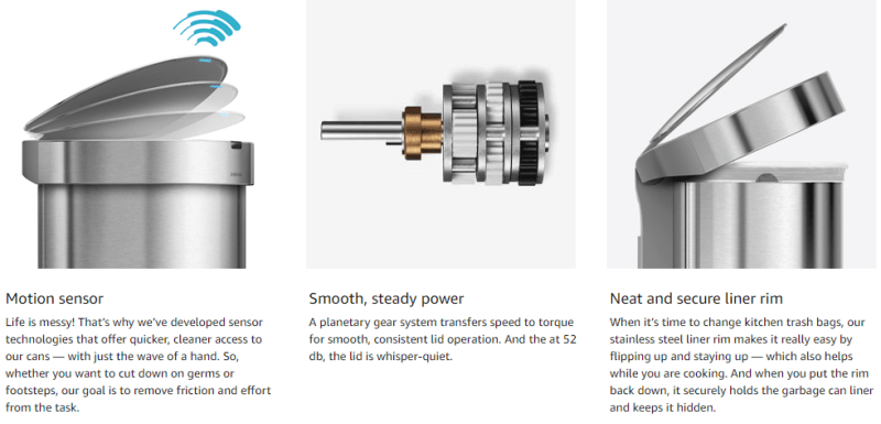 simplehuman semi-round sensor bin