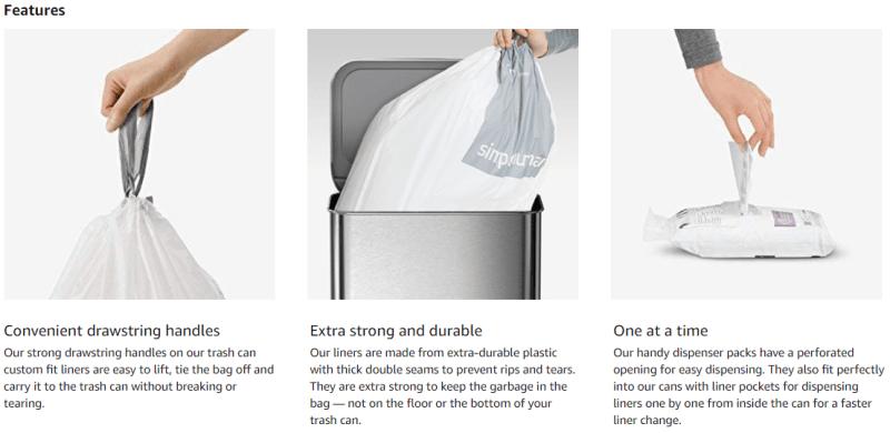 simplehuman trash can liners j