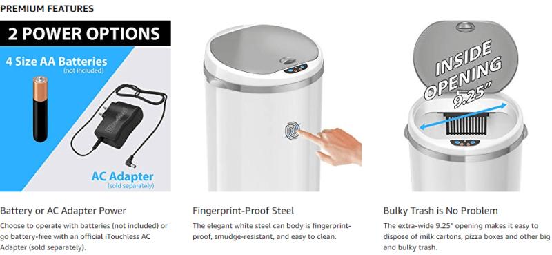 itouchless kitchen trash bin