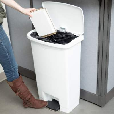 step to open trash can