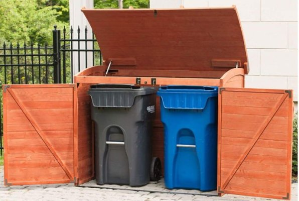 Outdoor trash can enclosure