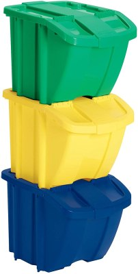suncast multi colored recycle bin kit