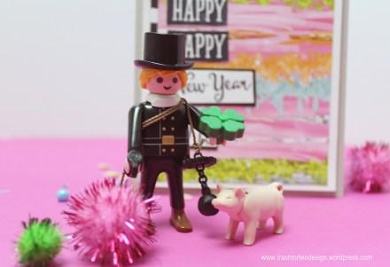 Frohes neues Jahr_Stempelchallenge_Schornsteinfeger_Play mobil_Glücksschwein_Kleblatt