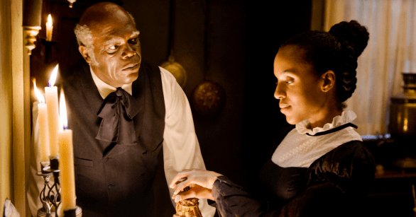 Samuel L. Jackson and Kerry Washington in DJANGO UNCHAINED