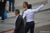 Hugh Jackman waves at fans at Comic Con 2013