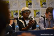 Samuel L. Jackson answers an unclaimed cell phone at the Kingsman press conference at Comic Con 2014