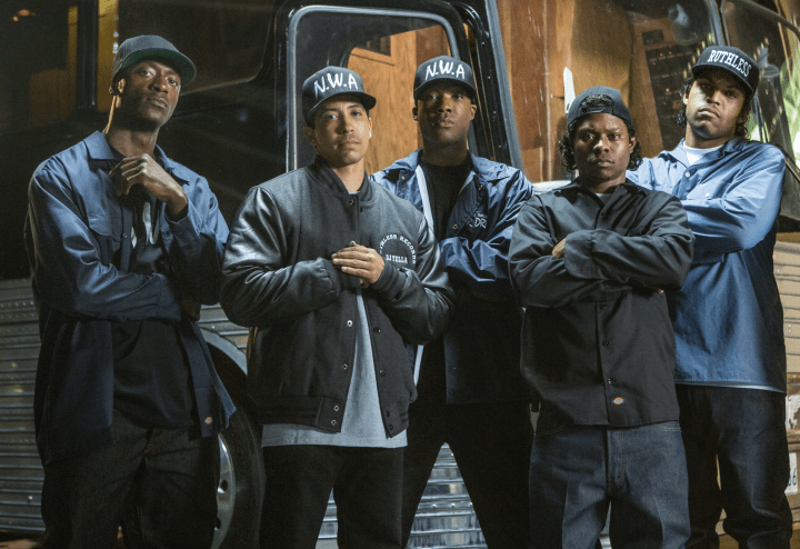 Aldis Hidge, Neil Brown Jr., Corey Hawkins, Jason Mitchell, and O'Shea Jackson Jr. are N.W.A. in Straight Outta Compton