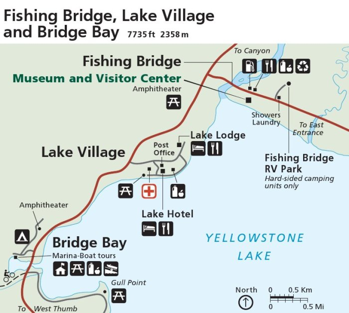 Yellowstone Fishing Bridge map