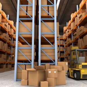 13253559 - 3d rendering of a distribution warehouse with shelves, racks, boxes, and forklift