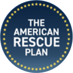 """Blue circle with a star border, with the words """"American Rescue Plan Act"""" in the center with a star border"""