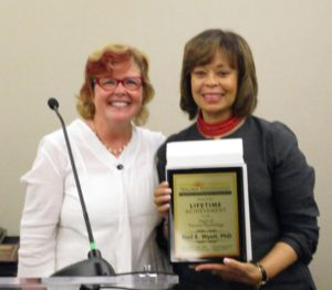Gail Wyatt receives Lifetime Achievement Award & Kathy Kendall Tackett, Awards Committee Chair at Division 56 Social Hour.