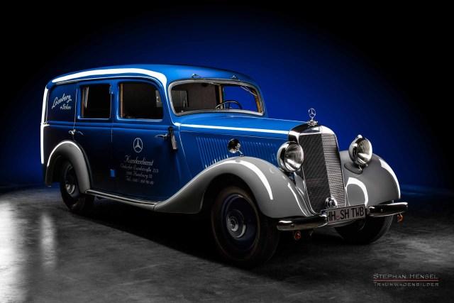 Mercedes-Benz 170 V, Baujahr 1949, Ansicht von rechts vorn, Oldtimer, Leseberg + Sohn, Autofotografie: Stephan Hensel, Hamburg, Oldtimerfotograf, Autofotograf, Automobilfotograf, Oldtimerfotografie