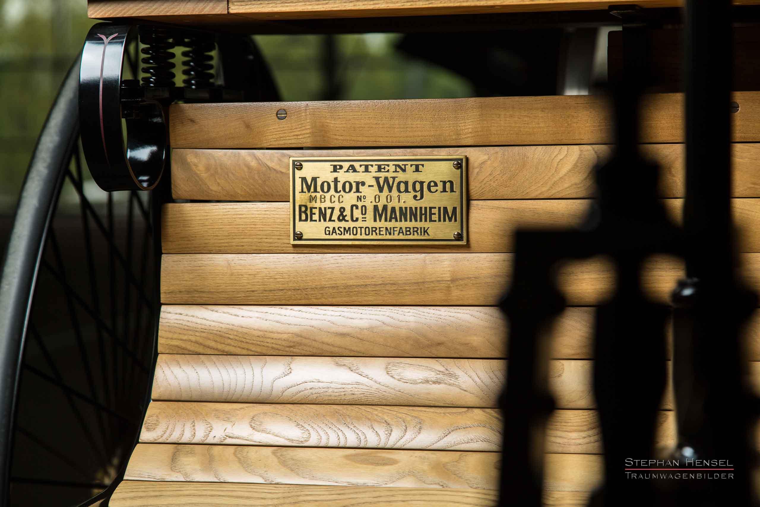 Benz Patent-Motorwagen Nr.1, Das erste Automobil, Detailansicht Typenschild, Oldtimerfotografie: Stephan Hensel, Hamburg, Oldtimerfotograf, Oldtimer, Oldtimerfotografie