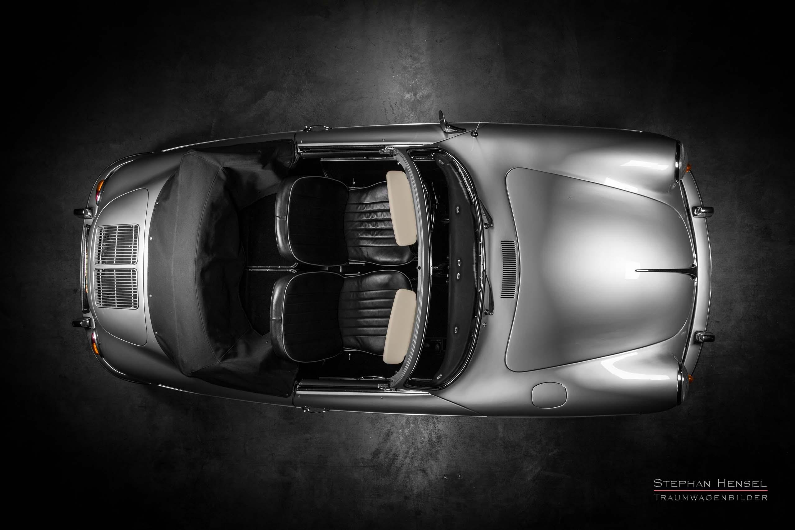 Porsche 356 B, Ansicht von oben, Autofotografie: Stephan Hensel, Hamburg, Oldtimerfotograf, Autofotograf, Automobilfotograf, Oldtimerfotografie